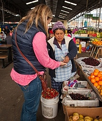 Heather Buys Some Berries at The Local Market in Aloag, Ecuador