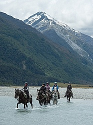 A River Crossing on the Day Ride FromBoundary Hut, Wild Womens Expeditions with Adventure Horse Trekking New Zealand