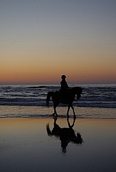 Riding on the beach at Sunset at Ricochet Ridge Ranch