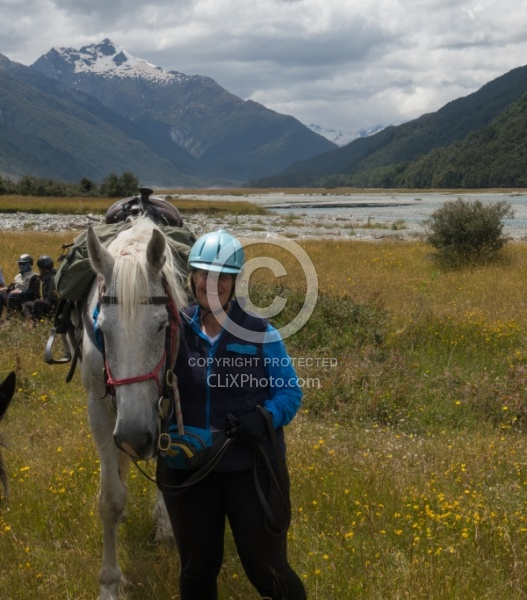 Heather and Cloud Before the Day Ride at Boundary Hut, Wild Womens Expeditions with Adventure Horse Trekking New Zealand