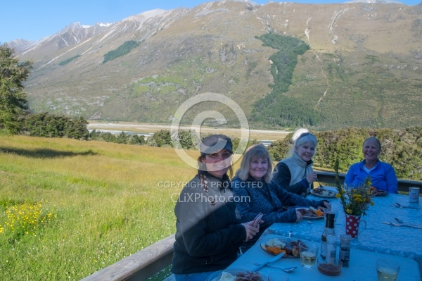 Dinner on the Deck at Boundary Hut, Wild Womens Expeditions with Adventure Horse Trekking New Zealand