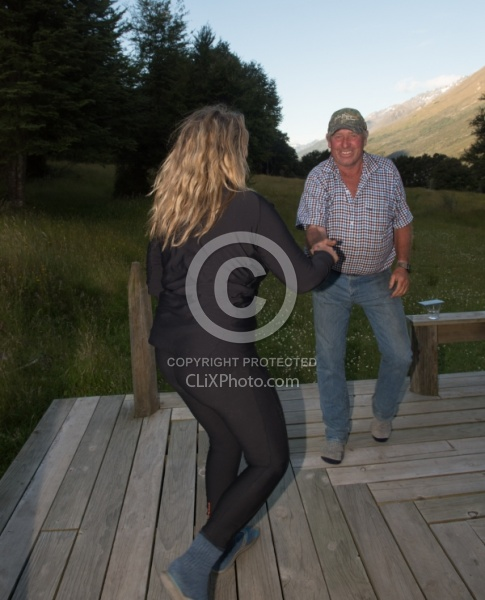 John and Angie Show off Their Dancing Moves at Boundary Hut, Wild Womens Expeditions with Adventure Horse Trekking New Zealand