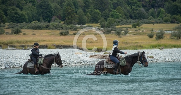 HeatA River Crossing on the Day Ride From Boundary Hut, Wild Womens Expeditions with Adventure Horse Trekking New Zealand
