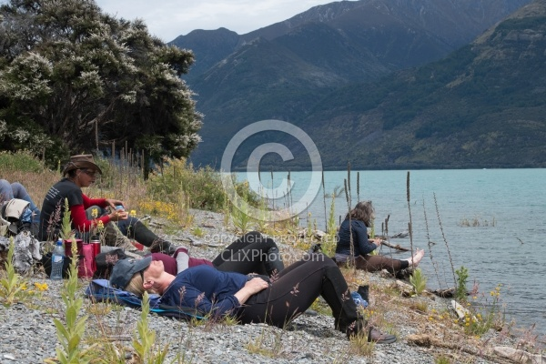 Lunch on a Beach at Lake Hawea on the Ride from Boundary Hut to Dingleburn Station